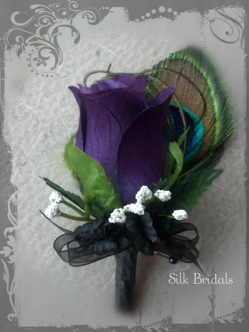 Purple plum PEACOCK feather Boutonniere rose Groom by SilkBridals, $5.99