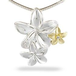 """14K #Yellow #gold and sterling #silver #Plumeria bouquet pendant with a 0.03 carat #diamond (18"""" Sterling silver chain included). Pendant measures approximately 1 1/4"""". #flower #jewelry"""