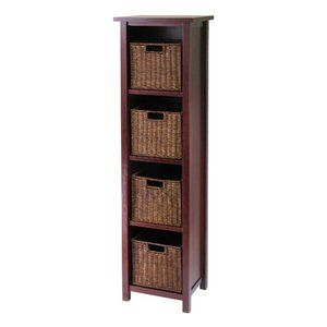 Winsome Milan Tall Storage Shelf with Baskets -- Something like this, but more DIY.