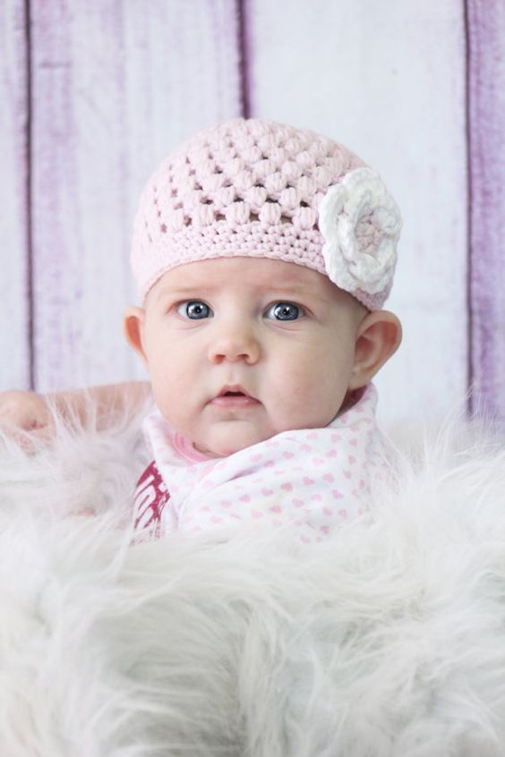 "Beanie Hat Crocheted ""The Illianna"" Baby Pink White Bubble Beanie Flower Soft on Etsy, $23.00 CAD"