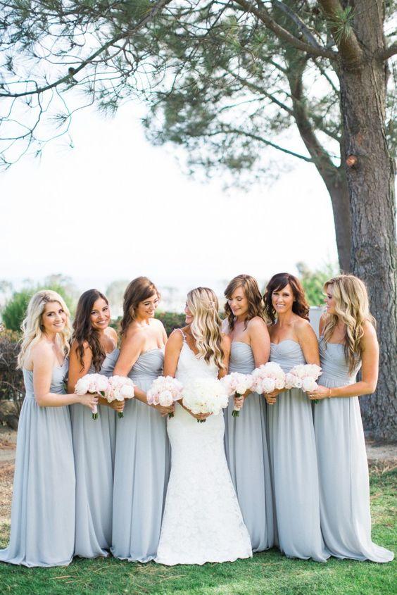 long light gray bridesmaids dresses