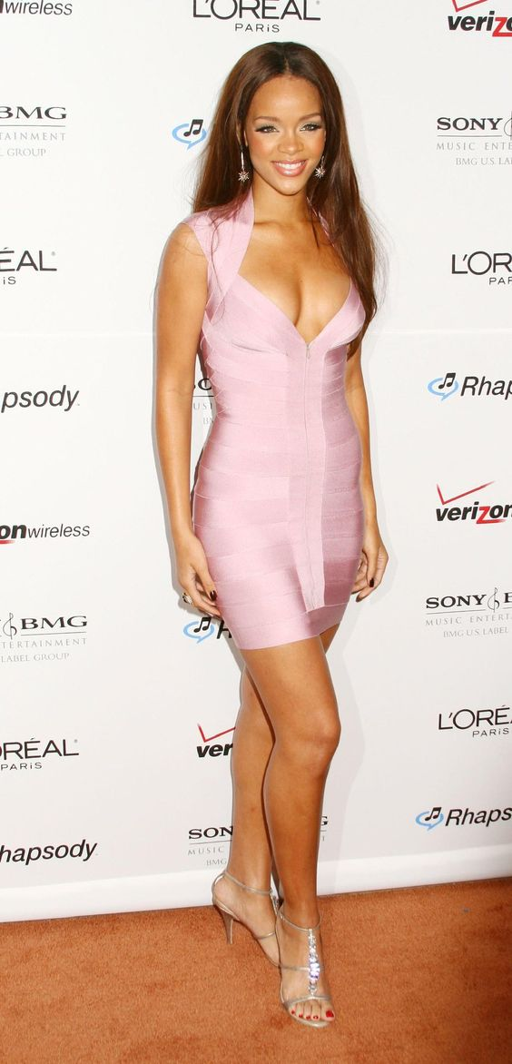 rihanna silver dress  Rihanna light pink tight dress silver shoes ...