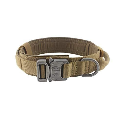 Yunlep Adjustable Tactical Dog Collar Metal Buckles Dogs Dog