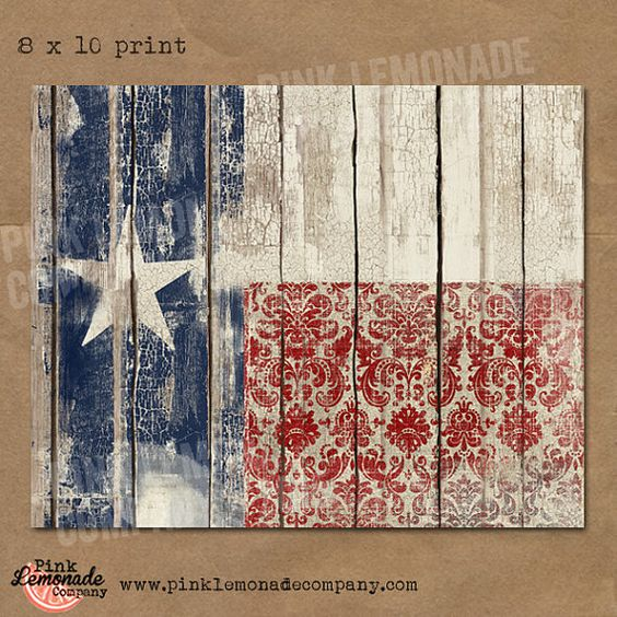 Texas flag art print instant download vintage wood chippy for Lone star home decor