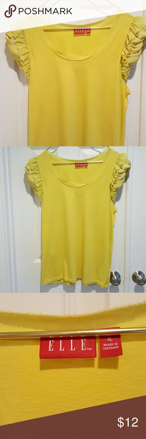 Price Drop! ELLE yellow top Yellow cotton top with great sleeve  detail. The neckline also has this material which I tried to pick on pic 3. EUC. Nonsmoking home. Elle Tops
