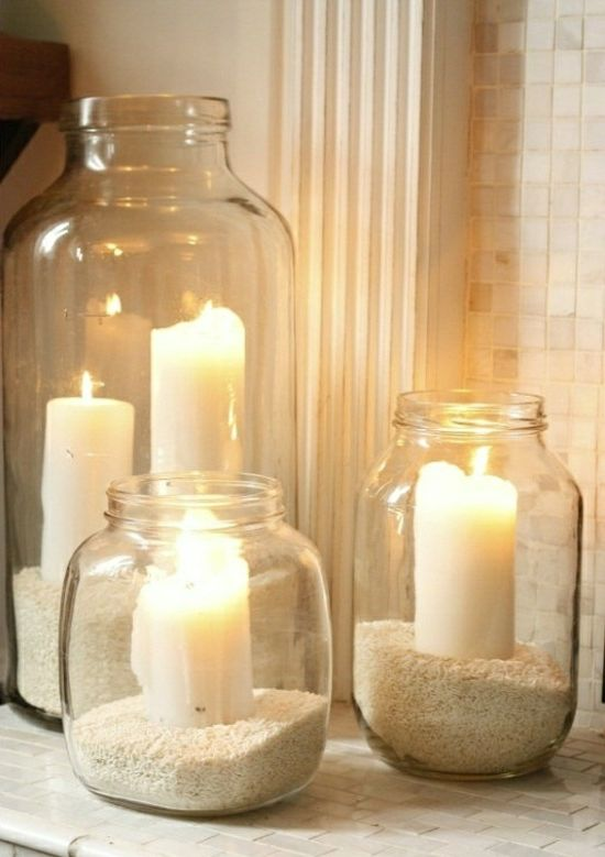 deko bastelideen gläser kerzen reis dekoracje Pinterest - winter deko wohnzimmer