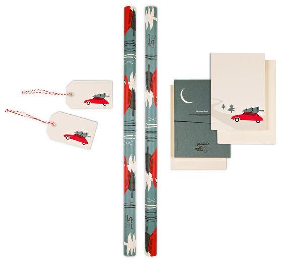 """Geschenkpapier, Grußkarten und Anhänger im Set """"driving home for christmas"""" (mit Ski-Motiv!)"""