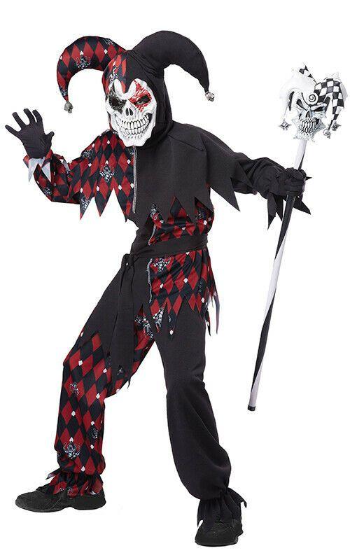Kids Evil Jester Halloween Costume Child Boys Joker Clown New Fancy Dress Outfit