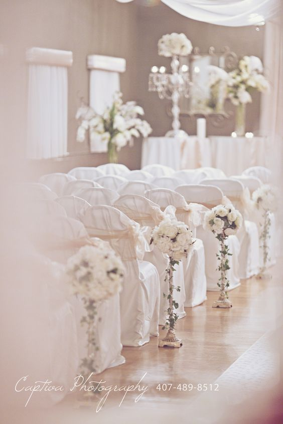 It's White Wedding Wednesday! Gorgeous Aisle Ideas at The Crystal Ballroom! Make your wedding one to remember! Photo Credit: Captiva Photography #WhiteWeddingWednesday #White #Wedding #Wednesday #ceremony #aisle #decoration #design #flower #accents #love #tietheknot #event #venue #orlando #florida #fl #ideas #forever #inlove