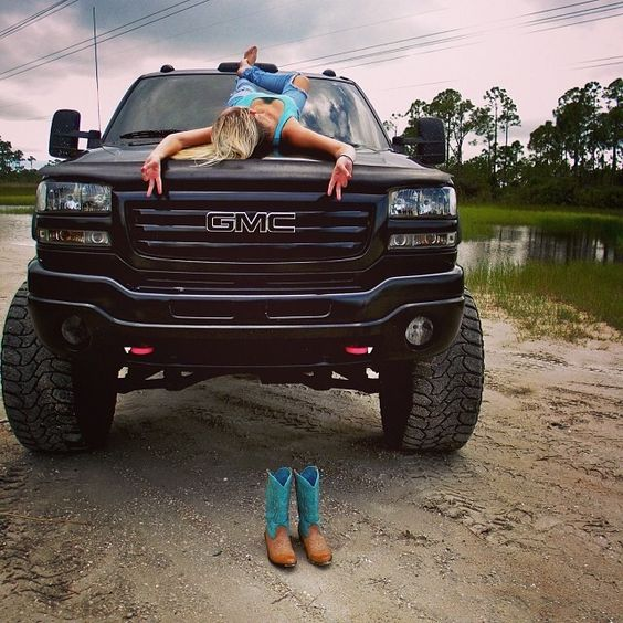 A lifted truck and a country girl...not a Chevy but.. Hey Y'all Blowout Sale, 50% OFF! Support and Roll Coal For Diesel Dave. Buy Awesome Diesel Truck Apparel! Make Sure to go ; You made it! Prepare yourself for the nicest Diesel gear on the planet! Dont forget to go to our site enter to Win one of 3 AWESOME Rigs we are giving away hurry do it now go to;http://www.dieselpowergear.com/#_a_ADP