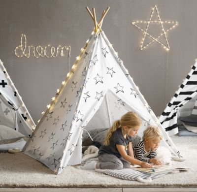 Printed Canvas Black & White Teepee Tent: