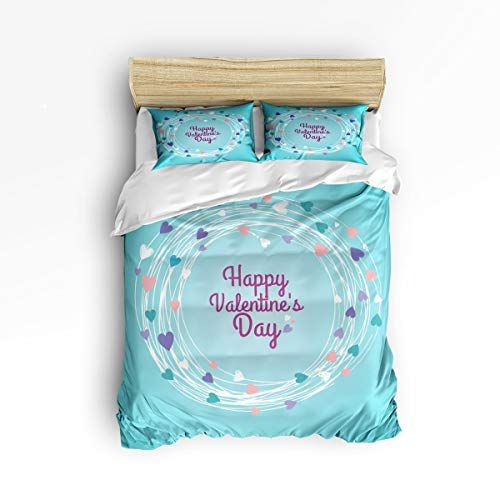 3 Piece Bedding Printed Duvet Cover Set Full Happy Valentine S Day Heart Wreath Hotel Quality Luxury Plush Duvet Cover Sets Duvet Covers Happy Valentines Day