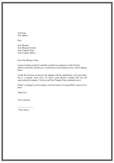 resignation letter template Google Search – Templates for Resignation Letter