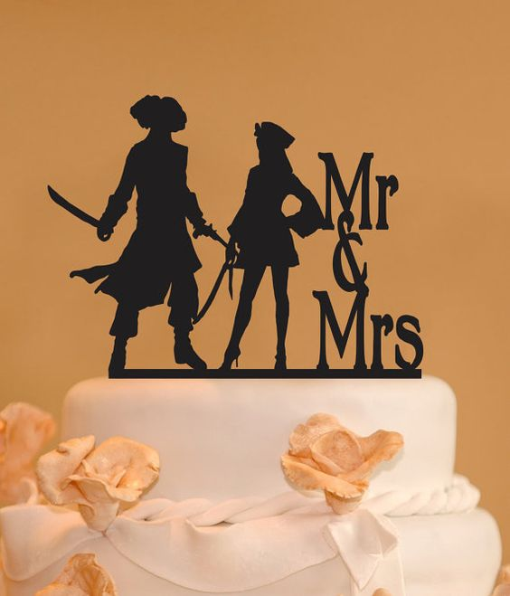 Pirates wedding cake topper  Mr. and Mrs. by CakeTopperConnection