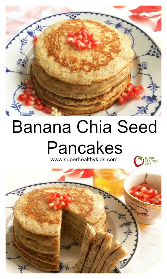 Banana Chia Seed Pancakes - Who knew that pancakes all the sudden could become a superfood? http://www.superhealthykids.com/banana-chia-seed-pancakes/