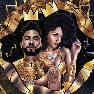 This illustration of these two beautiful couple is my favorite pair from my series. I am very selective of the individuals I chose for this ongoing project. @miguel and @nazaninmandi #beauty #fashion #god #goddess #scorpio #virgo #art #illustration #royal