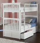 The Columbia bunk bed features a classic Mission style design with subtle curves and solid post construction. Solid hardwood throughout with 26 steel reinforcement points.Solid hardwood motrise