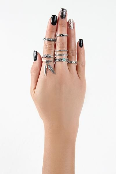 Feather Charm Heptagon Ring Set $ 16.00