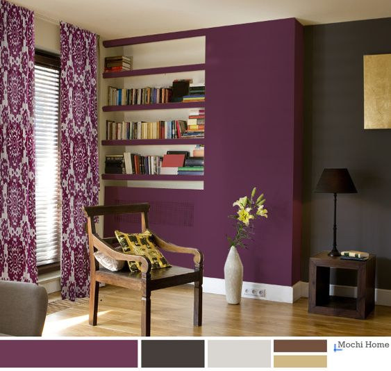 Grape Juice Purple Living Room with charcoal wall. I like the charcoal wall. Maybe a darker purple though: