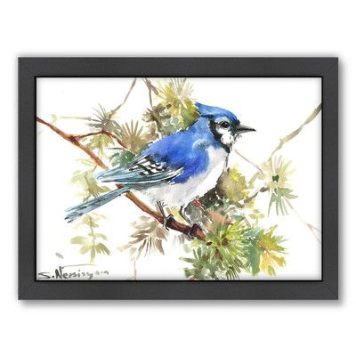 East Urban Home Blue Jay 7 by Suren Nersisyan Framed Painting Print