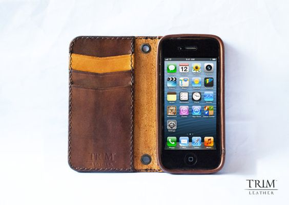 iPhone 5 Vintage leather wallet handmade PRE-ORDER. $79.99, via Etsy.