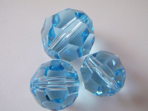 Swarovski Elements Crystal Blue Round Multifaceted by Spasojevich, $8.00