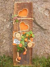 Holzbrett alt Landhaus Deko für Tür - Eingang Shabby Chic orange Herzen Herbst