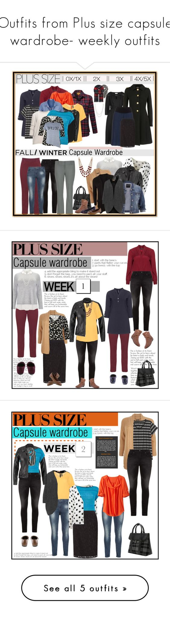 """""""Outfits from Plus size capsule wardrobe- weekly outfits"""" by budding-designer ❤ liked on Polyvore featuring Studio 8, Silver Jeans Co., Raphaela by Brax, ZJ Denim Identity, Zimmermann, Miu Miu, maurices, Manon Baptiste, Jette and TravelSmith"""