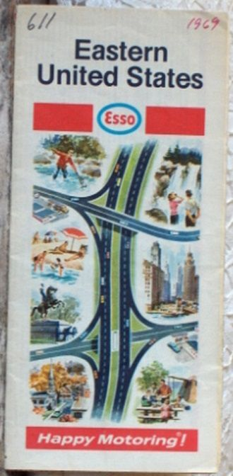 http://ajunkeeshoppe.blogspot.com/  ROAD MAP 1969 Esso Interstate Highways Of The Eastern United States