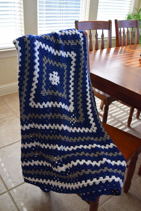 Free Crochet Pattern Lap Blanket : Crochet Granny Square Lap Blanket in Dallas Cowboys Colors ...