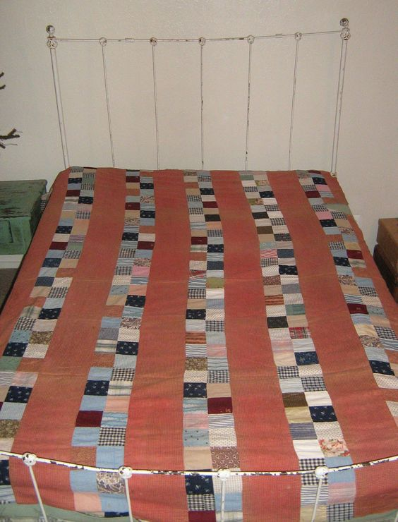Antique Cutter Quilt Top - salmon tomato soup red black blue multicolored. via Etsy.