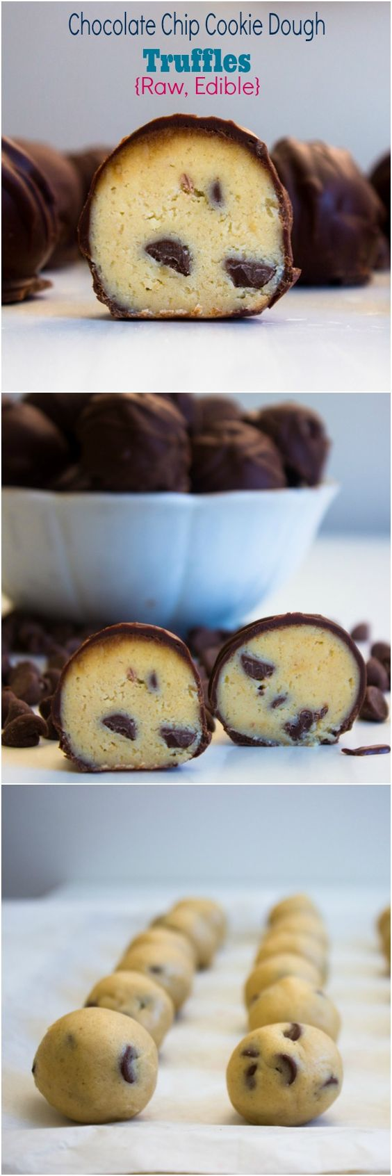 Chocolate Chip Cookie Dough Truffles {Raw, Edible}