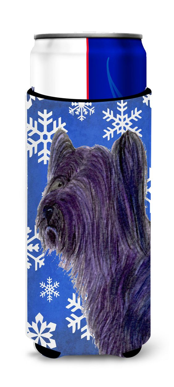 Skye Terrier Winter Snowflakes Holiday Ultra Beverage Insulators for slim cans SS4601MUK