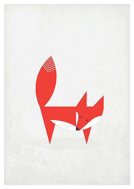 Affiche rétro style scandinave - fox, vixen - design nordique, vintage imprimer, A3, décoration de mur de pépinière, décor de mur rétro