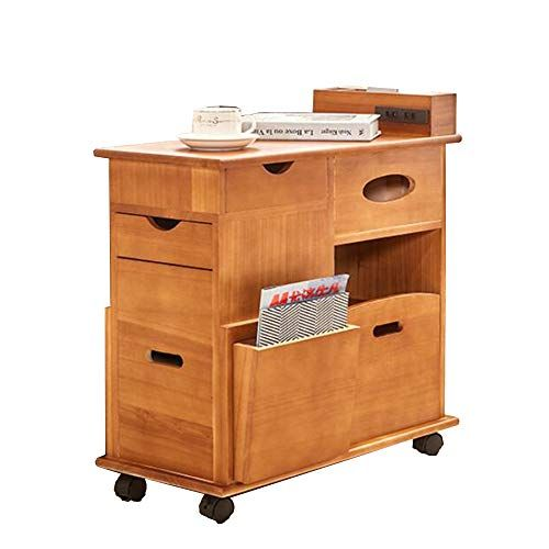 Folding Desk Sofa Side Cabinet With Wheel Solid Wood Coffee
