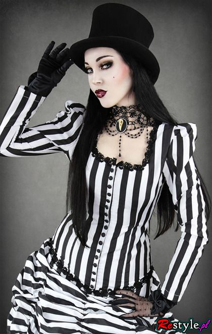 Women jacket shirt with neckline black and white stripes puffs and buttons | CLOTHING  Shirts | Restyle.pl