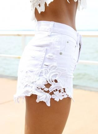 White Denim High-Waist Cut Off Shorts with Crochet Detail, Bottoms ...
