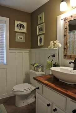 Bathroom farmhouse bathrooms and wainscoting on pinterest - Bathroom remodel ideas with wainscoting ...
