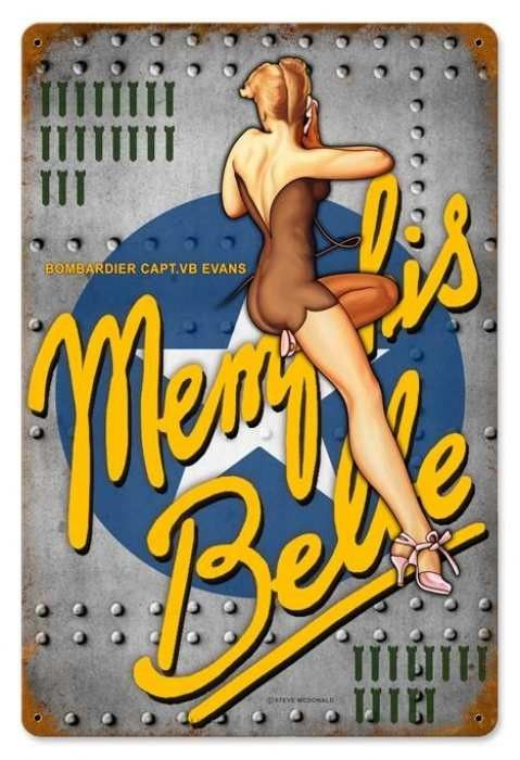 Vintage and Retro Wall Decor - JackandFriends.com - Vintage Memphis Nose Art  - Pin-Up Girl Metal Sign, $39.97 (http://www.jackandfriends.com/vintage-memphis-nose-art-metal-sign/):