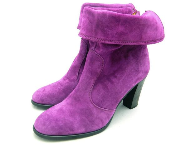 Madewell $198 Fold Over Zip Code Suede Boots 9 fuschia shoes pink