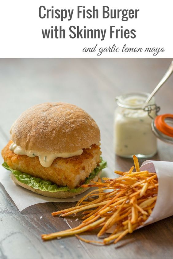 Fish Burger and Matchstick fries with garlic lemon mayo