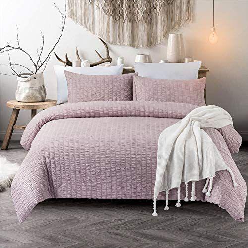 3 Pieces Purple Duvet Cover Set Seersucker And Lavender Washed Microfiber Reversible Design Lavender Purple Bedding Duvet Sets Purple Bedding Bed Linen Design