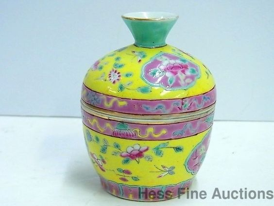 Antique Chinese Porcelain Signed Famille Medallion Enamel Tea Cup w Lid 5of34