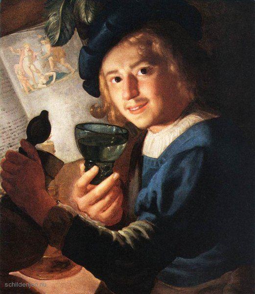 Jonge drinker door Gerrit van Honthorst