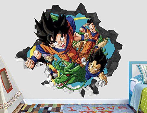 Dragon Ball Z Goku Wall Decal Smashed 3d Sticker Vinyl Decor Mural Kids Broken Wall 3d Designs Ah91 Large Wide 40 X 36 Height Dragon Ball Z Custom Wall Decals Dragon Ball
