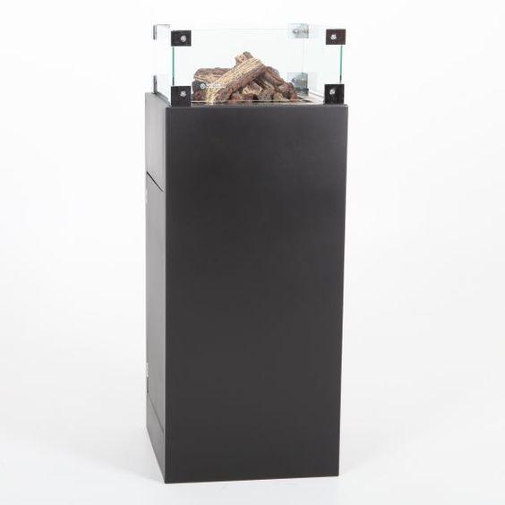 Aluminium vuurzuil 90 of 110 cm. hoog. Inclusief glazenombouw. Verkrijgbaar in alle kleuren.