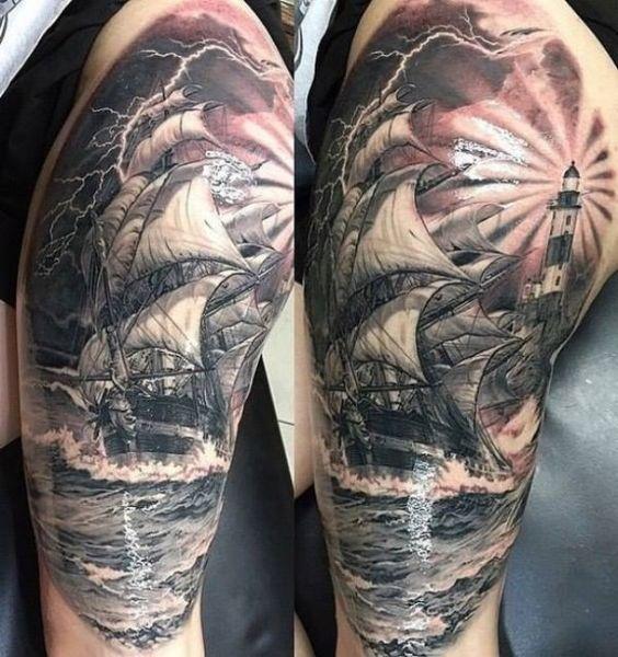 Ship with lighthouse lake Tattoo  - http://tattootodesign.com/ship-with-lighthouse-lake-tattoo/  |  #Tattoo, #Tattooed, #Tattoos