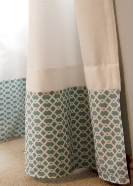 Attach fabric along the bottom of curtains to turn basic panels into custom treatments. This is also a great idea if you have curtains that are too short for your windows. Add and overlap to create the right length.: