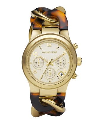 Michael Kors Chain-Link Watch in Tortoise, love how it looks like a bracelet from the other side