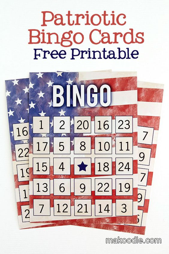 Fun idea for your holiday gathering ... for youngsters as well as the young at heart!  Patriotic Bingo Cards - Free printable Fourth of July Printable Activity;